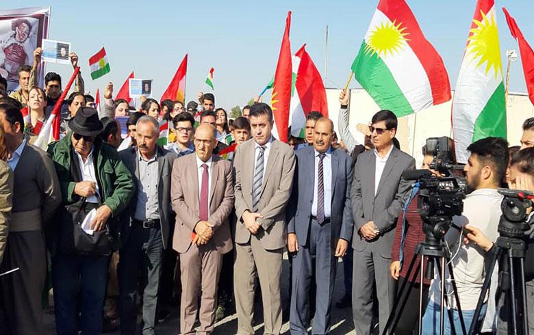 وفد من ممثلية ENKS بإقليم كوردستان يشارك في الاعتصام التضامني مع شعب شرقي كوردستان