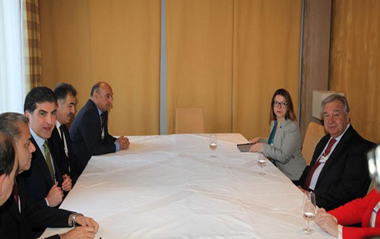 نێچيرڤان بارزاني يجتمع مع الأمين العام للأمم المتحدة