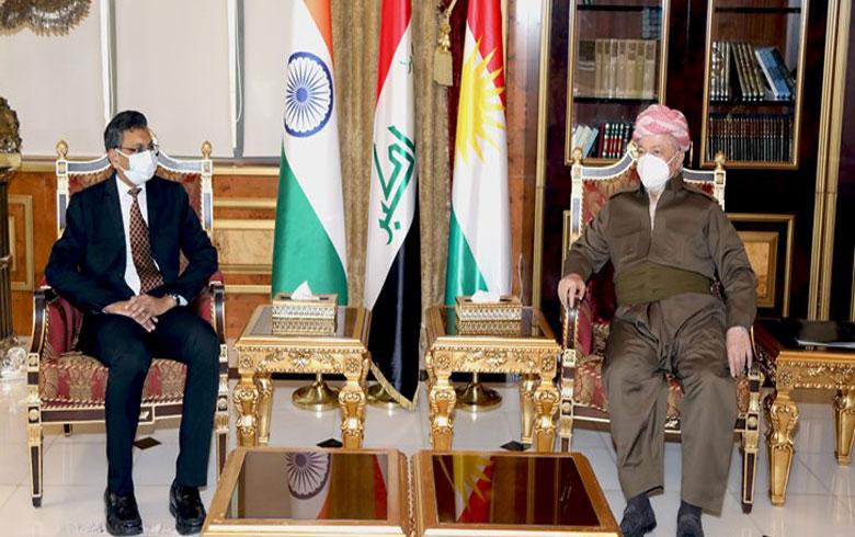 Serok Barzanî pêşwaziya Balyozê Hîndîstanê li Iraqê kir