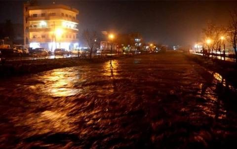 أمطار غزيرة وفيضانات في مدن كوردستان سوريا