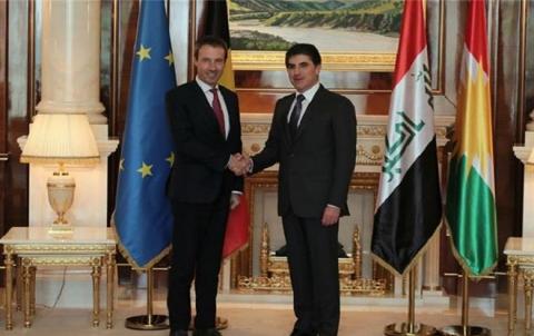 رئيس إقليم كوردستان يجتمع مع وزير الخارجية والدفاع البلجيكي