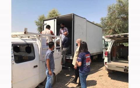 منظمة دوميز لـ PDK-S توزع سلات غذائية على المقيمين في منطقة (دوميز المعسكر)