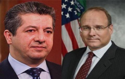مسرور بارزاني ومساعد وزير الخزانة الامريكي يبحثان سبل مساعدة كوردستان لمكافحة كورونا