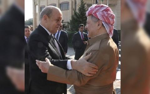 الرئيس بارزاني يبدي  قلقه لوزير الخارجية الفرنسي، حيال مستقبل الشعب الكوردي في سوريا